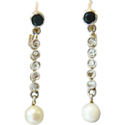 18kt Gold Sapphire & Diamond Drop Earrings