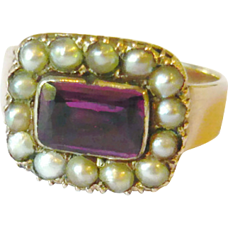 Early Victorian Foil Back Amethyst & Pearl Ring