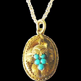 Victorian 15kt Gold Turquoise Grape Pendant
