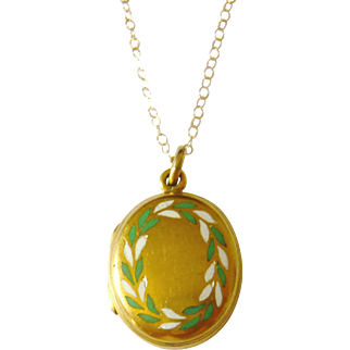 Victorian 9kt Gold Laurel Wreath Enamel Locket