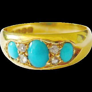 Edwardian 18kt Gold Turquoise & Diamond Ring