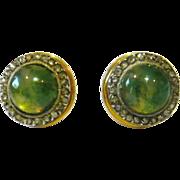 Victorian Moss Agate & Rose Diamond Stud Earrings