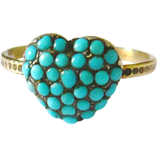 Victorian Pave Turquoise Heart Ring | Stick Pin Conversion
