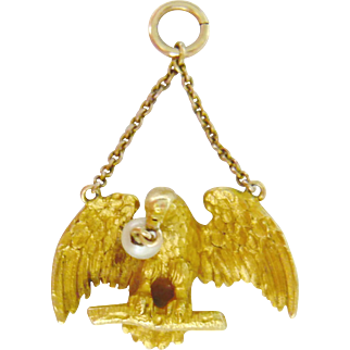 Victorian 18kt Gold Eagle Pendant with Pearl
