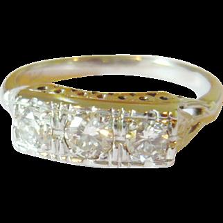 Art Deco 14kt White Gold Diamond Trilogy Ring