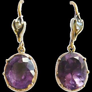 Late Georgian Foil Back Amethyst & Rose Diamond Earrings