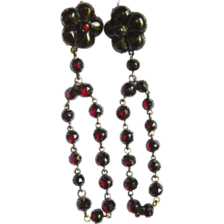 Victorian Bohemian Garnet Flower Long Drop Earrings