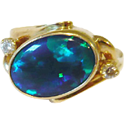 Vintage Black Opal & Diamond 18kt Gold Ring
