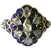 Late Georgian Blue Enamel & Rose Diamond Statement Ring