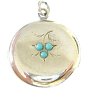 Edwardian Sterling Silver Locket with Turquoise Glass