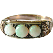 Edwardian 14kt Gold Opal Trilogy Ring