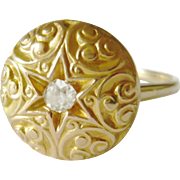 Victorian 15kt Gold Diamond Button Conversion Ring