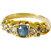 Edwardian 18kt Gold Blue Sapphire & Diamond Ring