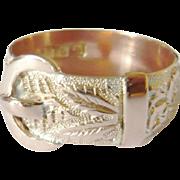Victorian 9kt Gold Repoussé Buckle Ring