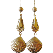 Edwardian 9kt Rose Gold Sea Shell Drop Earrings