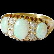 Edwardian 18kt Gold Opal & Diamond Ring