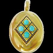 Victorian 15kt Gold Turquoise & Black Enamel Locket
