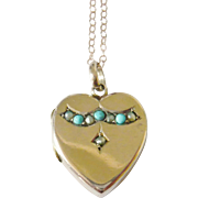 Victorian 9kt Rose Gold Turquoise & Pearl Heart Locket