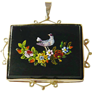 Victorian Micro Mosaic Pendant in Heavy 10kt Gold Mount