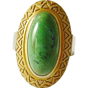 Vintage 14kt Gold Turquoise Egyptian Revival Ring