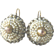Victorian Natural Seed Pearl & Gold Circle Earrings