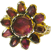 Georgian Flat Cut Garnet Flower Ring