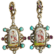 Victorian Austro Hungarian Hand Painted Cupid Earrings