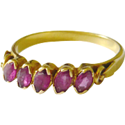 Early 20th Century Ruby 5 Stone Ring