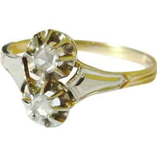 Edwardian 18kt Gold Twin Rose Diamond Ring