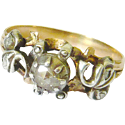 Victorian 14kt Gold & Silver Rose Diamond Ring