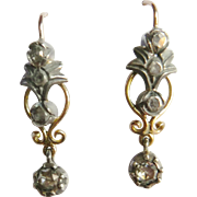 Victorian Style 14kt Gold Rose Diamond Drop Earrings