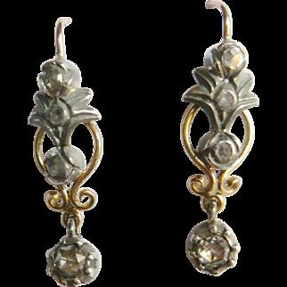 Victorian Style 14kt Gold Rose Diamond Drop Earrings