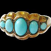 Edwardian 5 Stone Turquoise 9kt Gold Ring
