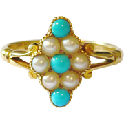 Edwardian 18kt Gold Turquoise & Pearl Navette Ring