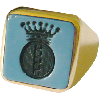 Vintage 18kt Gold Sardonyx Crown Intaglio Ring