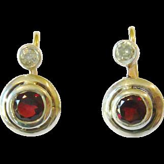 Art Deco Garnet & Diamond Target Earrings