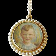 Edwardian 15kt Gold Seed Pearl Double Sided Locket