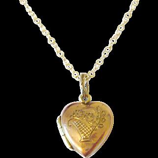 Edwardian 9kt Gold Heart Charm Locket