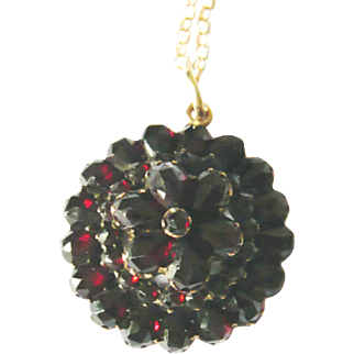 Victorian Bohemian Garnet Flower Pendant