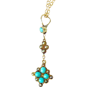 Victorian 15kt Gold Turquoise & Seed Pearl Pendant