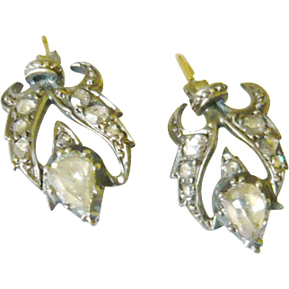 Victorian Pear Shaped Rose Diamond Earrings