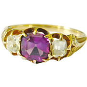 Victorian 18kt Gold Rhodolite Garnet & Chrysoberyl Ring
