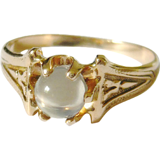 Antique 18kt Gold Moonstone Orb Solitaire Ring