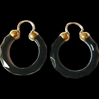 Victorian 18kt Gold French Jet Hoop Earrings