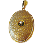 Vintage Large 14kt Gold Locket with Pearl