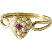 Edwardian 15kt Gold Seed Pearl & Ruby Heart Ring