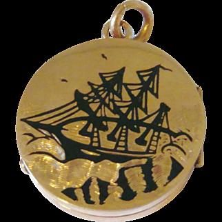 Victorian 10kt Gold Black Enamel Ship Locket