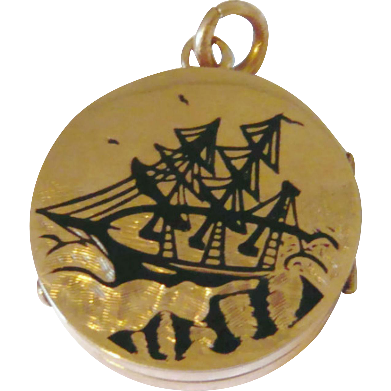 Victorian 10kt Gold Black Enamel Ship Locket