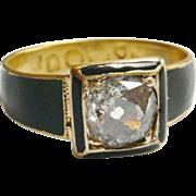 Victorian 18kt Gold Black Enamel Diamond Solitaire Ring
