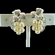 Vintage Japanese 950 Silver Akoya cultured pearl clip earrings